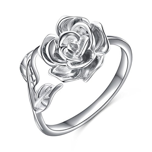 ALPHM Rose Flower S925 Sterling Silver Adjustable Wrap Open Engagement Spoon Leaf Ring for Women - Large Silver Rose