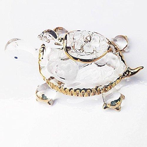 chantubtimplaza Blue Sea Ornament Animal Hand Miniature Crystal Art Turtle Blown Glass Figurine