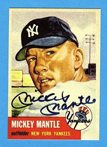 2020 Bowman Autographs - Mickey Mantle 1953 Topps Baseball Reprint Card (w/Facsimile Signature on front of card** (Yankees)
