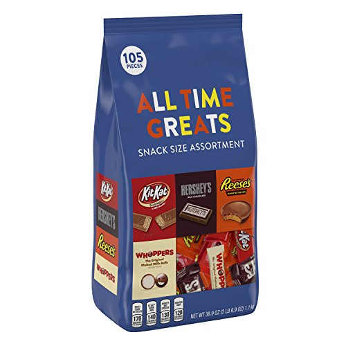 Hershey All Time Greats Chocolate Candy Assortment (HERSHEY'S, REESE'S, KIT KAT, WHOPPERS), Snack Size, 38.9 oz., 105 -