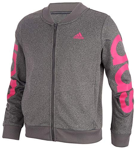 adidas Girls' Track Jacket (L (12/14), Dark Grey/Pink) by adidas