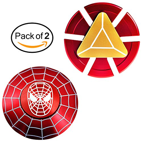 K.SHOP Fidget Spinner Iron Man & Spider Man, Smooth Custom Round Shaped Hand Spinners with Ceramic Bearing, Metal and Durable. Stress Reducer Toy & Perfect for ADHD, ADD, Anxiety (2 pack)