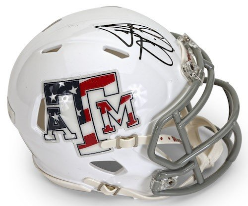 JOHNNY MANZIEL Signed Texas A&M Stars & Stripes Mini Speed Helmet PANINI