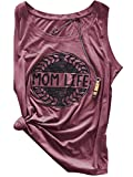 Pxmoda Women's Casual Letters Printed Tank Tops Mom Life Vest (M, Purple)