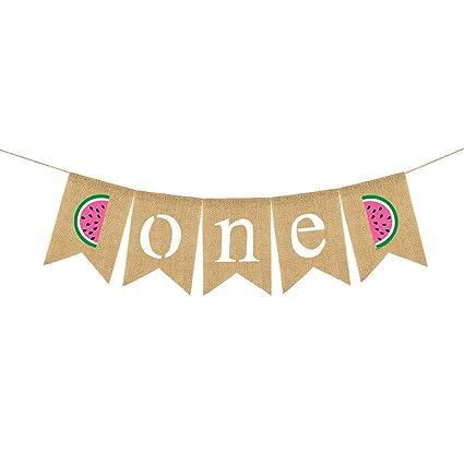 Amosfun Sandía Lino Banner Cumpleaños Dovetail Bunting ...