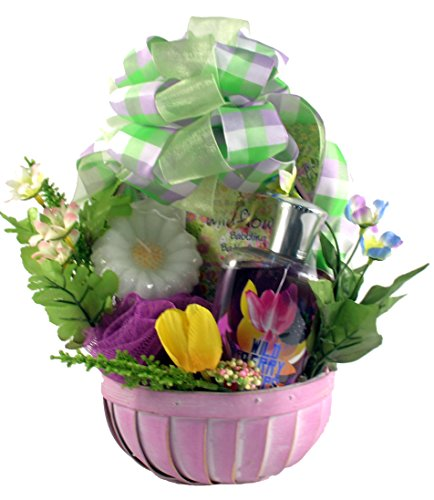 Mothers Day Tulips Cookie Basket - Gift Basket Village Wild Berry SPA Set for Her