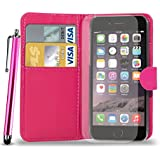 Apple iPhone 6 Leather Wallet Flip Case Cover Pouch & Touch Stylus Pen + Screen Guard & Cleaning Cloth - HOT PINK