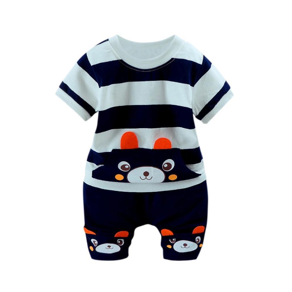 Sagton® Cute Baby Boys Clothes Set Bear Striped T-Shirt Tops+Shorts 0-24M