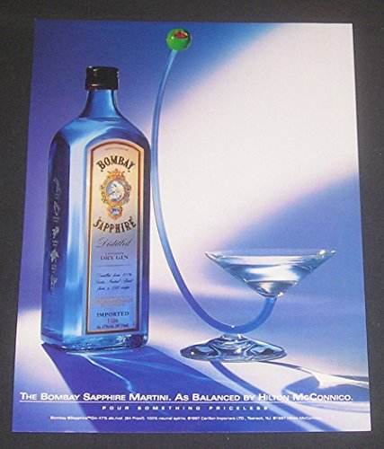 2000 Bombay Sapphire Dry Gin Martini, MAGAZINE PRINT AD, As Balanced by Hilton McConnico, Original Advertisement / Collectible Paper Ephemera