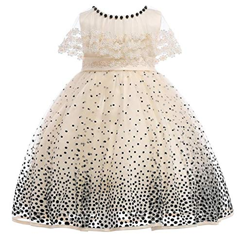 JIANLANPTT Toddler Baby Girls Kids Dot Print Wedding Bowknot Lace Tulle Tutu Princess Pageant Dress Beige 7-8 Years ()