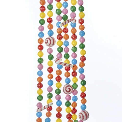 Kurt Adler PINK BLUE ORANGE YELLOW AND GREEN BALL AND CANDY CANE GARLAND RED