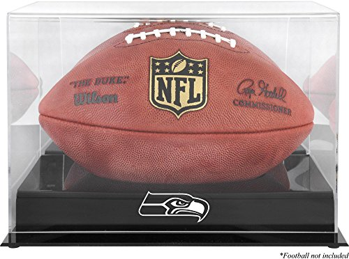 (Seattle Seahawks Team Logo Football Display Case | Details: Black Base, Mirror Back)
