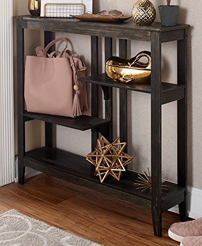 Brushed Metallic Console Table - Modern, Narrow Hallway Table - Black/Gold