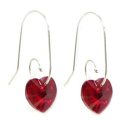Siam Red Swarovski Elements Crystal Love Heart Sterling Silver Swirl Hook Dangle Earrings aJctUtJ