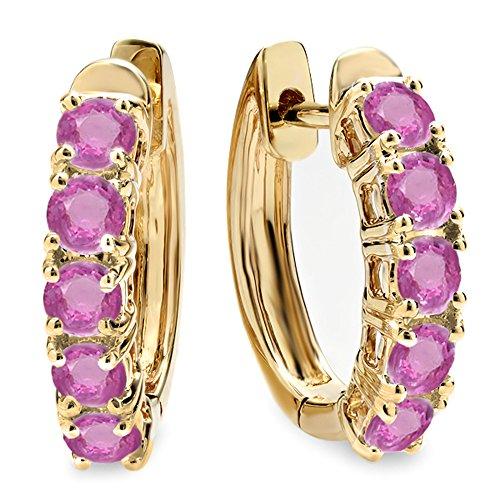 Dazzlingrock Collection 1.00 Carat (ctw) 18K Round Pink Sapphire Ladies Huggies Hoop Earrings 1 CT, Yellow Gold