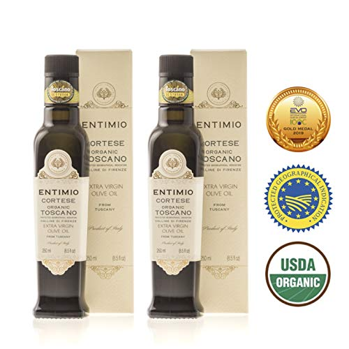 Entimio Cortese | Delicate Organic Olive Oil Extra Virgin | 2018 Harvest Italian Olive Oil from Italy, Tuscany, 2019 Gold Award | First Cold Pressed, Rich in Antioxidants | 16.9 (2 x 8.5) fl oz