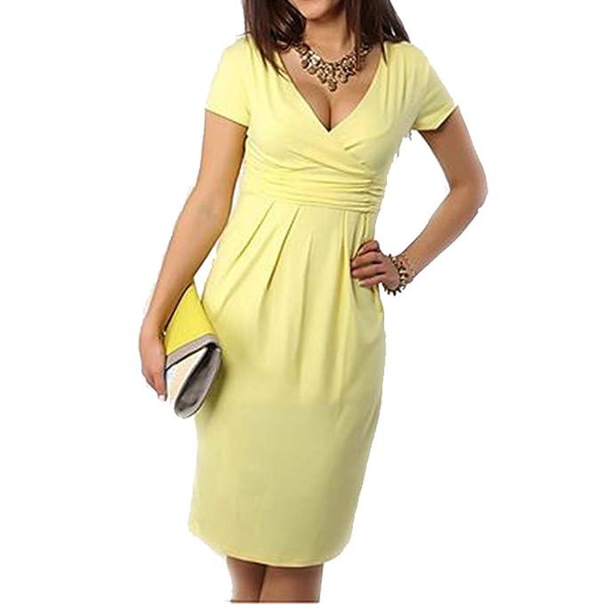Yying Vestidos de Maternidad Ropa para Mujeres Embarazadas Embarazo Vestido Amarillo M