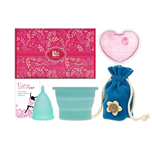 Anigan EvaCup Menstrual Cup Gift Set, Includes: EvaCup, Sterilizing Cup and more (Small, Blizzad Blue) (Cervical Cup)