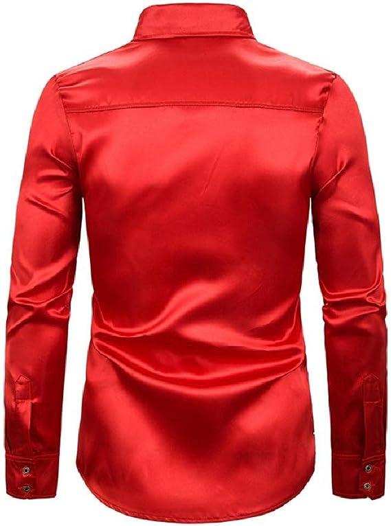 Cromoncent Men Stylish Print Long-Sleeve Button Down Nightclub Shirt