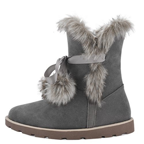Women Furry Round Toe Low Top Heeled Snow Boots
