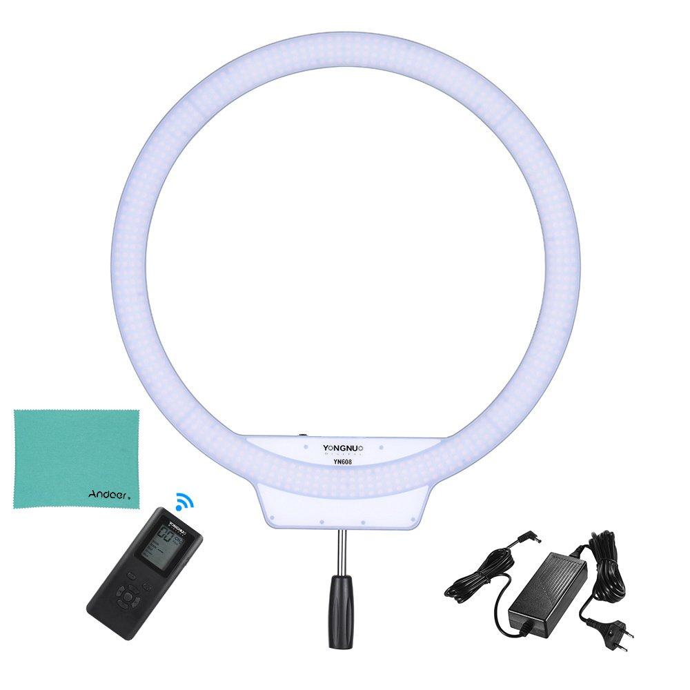 YONGNUO YN608 3200K ~ 5500K Bi-FarbeTemperatur Wireless Remote LED Ring Video Licht und Rahmenlos Einstellbare Helligkeit CRI≥95 für Portrait Selfie mit EU Power Adapter und Andoer Reinigungstuch