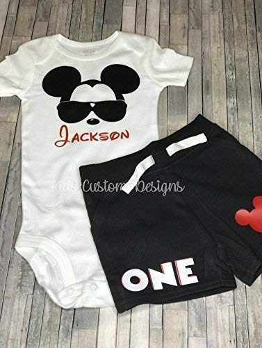 Amazon Mickey Mouse 1st Birthday Outfit Personalized Boy Handmade
