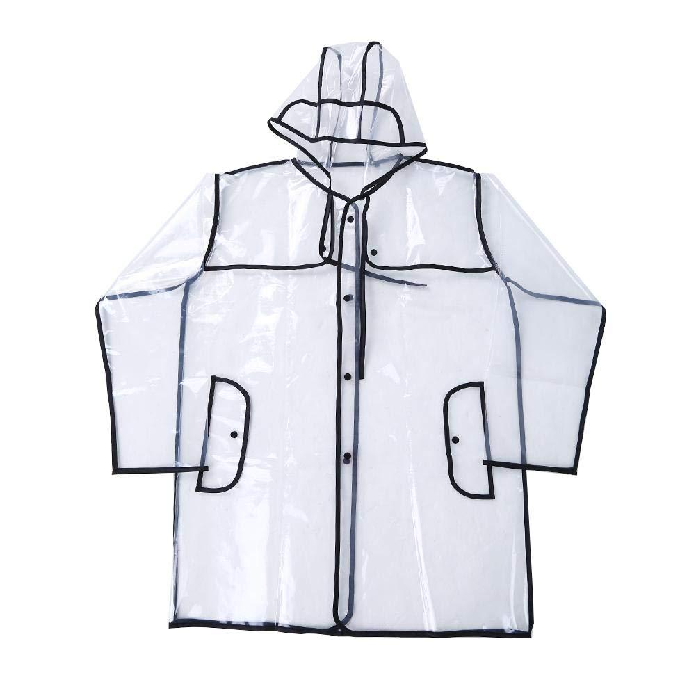 Tbest Imperméable Vestes Anti-Pluie Courte à Capuche Transparente Fête Camping pour Femmes noir