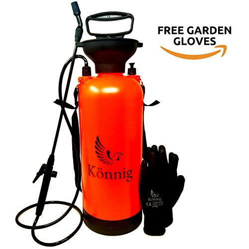 Könnig 0.8-2.0 Gallon Lawn, Yard and Garden Pressure Sprayer for Chemicals, Fertilizer, Herbicides and Pesticides with Free Pair of Garden Gloves (2.0 Gallon) (2.0 Gallon) by Könnig