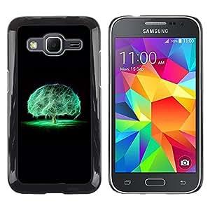 TopCaseStore / la caja del caucho duro de la cubierta de protección de la piel - Brain Tree Mystical Nature Neon Black - Samsung Galaxy Core Prime SM-G360