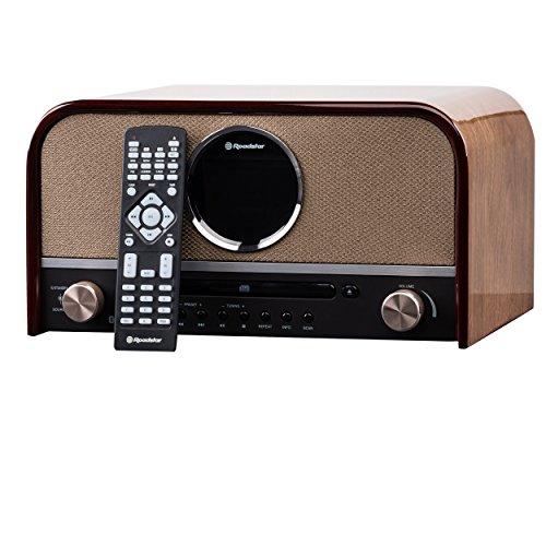 Roadstar HRA-1750D+BT DAB Nostalgie Retro-Radio mit CD / MP3 Player im Holzgehäuse, 80 Watt Musikleistung (Bluetooth, DAB / DAB+, RDS, USB, SD-Karten-Leser, AUX-In), braun