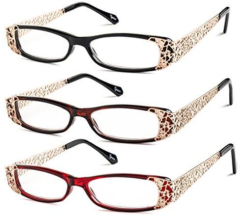 Slim Feminine Reading Glasses (Black, Brown, Red) Includes-Microfiber Pouch +3.00 - Glasses Reading Eyewear The Look
