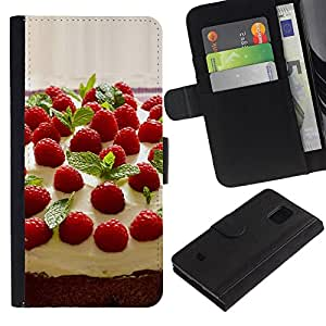 All Phone Most Case / Oferta Especial Cáscara Funda de cuero Monedero Cubierta de proteccion Caso / Wallet Case for Samsung Galaxy S5 Mini, SM-G800 // Fruit Macro Raspberry Cake