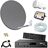 Digital SAT Anlage 60cm + HD RECEIVER + 10m Kabel + Opticum single LNB + SAT Finder = HD Komplett Set (3 Farben wählbar)