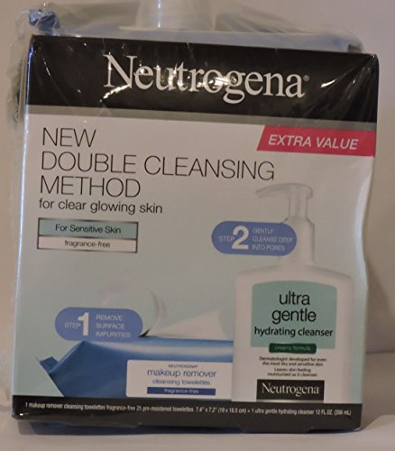 Neutrogena skin care kit for Sensitive Skin (1 pack Cleansing Towelettes fragrance free , 1 Ultra Gengle Hydrating Cleanser 12 oz)