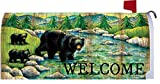 Welcome Black Bear - Mailbox Makeover - Vinyl with Magnetic Strips - Licensed, Copyrighted and Made in the USA by Custom Decor Inc.