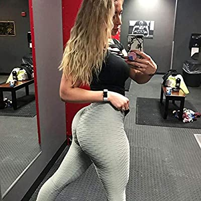 Jenbou Butt Lifting Anti Cellulite Sexy Leggings for Women High Waisted Yoga Pants Workout Tummy Control Sport Tights at Women's Clothing store