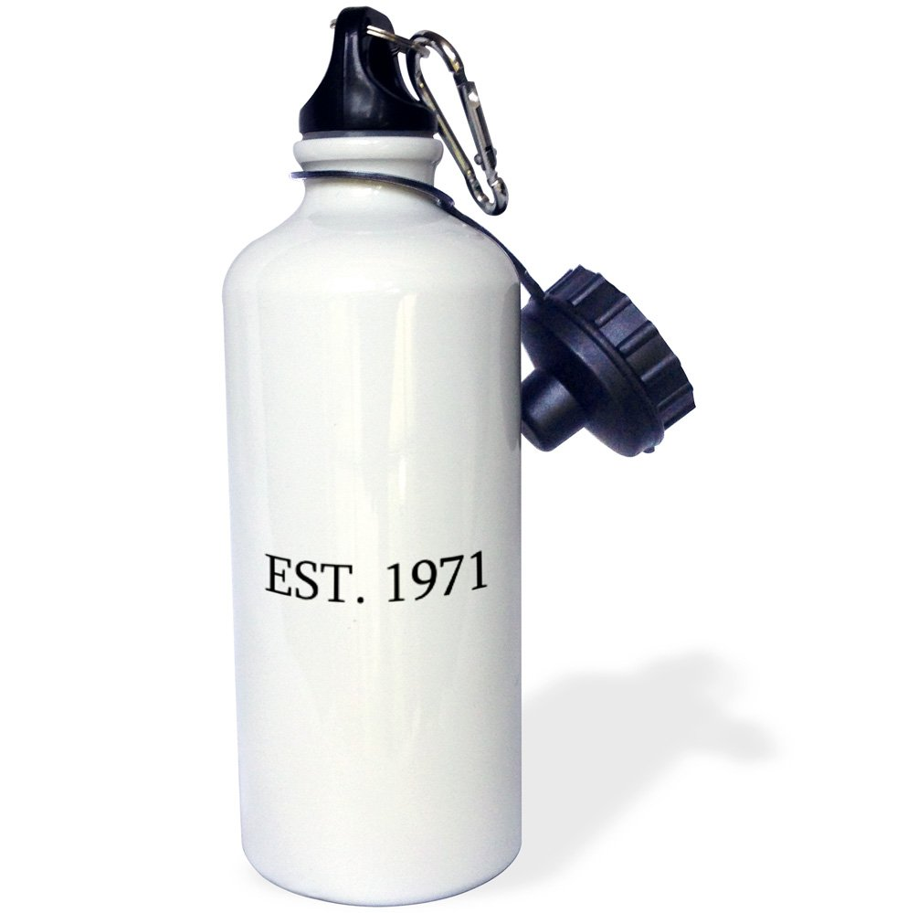 Personalized year you were born-black text Sports Water Bottle 1971-Established in 1971-Personal birth year White 3dRose wb/_161369/_1Est 21 oz