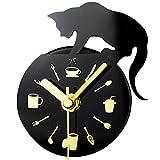 la crosse weather station parts - Besplore Magnetic Fridge / Kitchen Clock,,Lovely Cat Fashion Creative Silent,Coffee