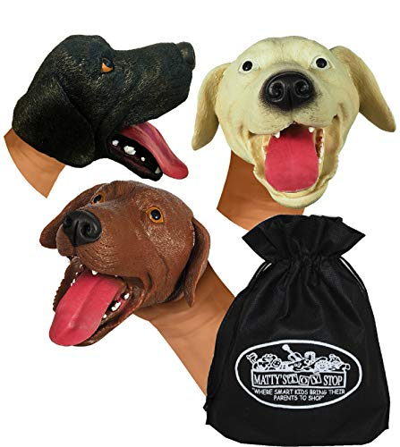 Schylling Dogs Stretchy Hand Puppets Brown, Beige (Tan) & Black Gift Set Bundle with Exclusive Matty's Toy Stop Storage Bag - 3 Pack ()