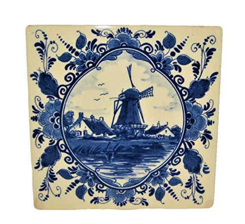 Delft Vintage 1982 Blauw Royal Goedenwaagen Holland 6x6 Inch Provimi-Veal Porcelain Tile, Windmill - Tile Windmill