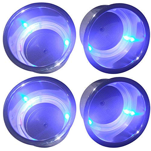 Amarine Made (Set of 4) 3 LED Blue Stainless Steel Cup Drink Holder with Drain & LED Blue Marine Boat Rv Camper