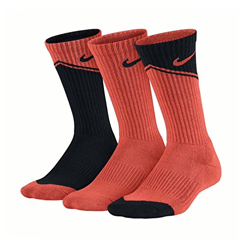 Nike Big Boys' Performance Graphic Crew Socks 3 Pair (Small, Orange - Socks Orange Nike Black