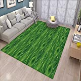 Green Bath Mats Carpet Retro Spring Freshness Themed Abstract Leaf Design Vertical Wavy Twigs Door Mats for Inside Non Slip Backing Fern Green Pale Green