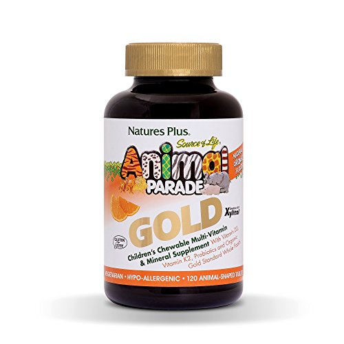 Natures Plus Animal Parade Source of Life Gold Childrens Multivitamin - Orange Flavor - 120 Chewable Animal Shaped Tablets - Organic Whole Foods, Gluten Free, D3, K2, Immune Support - 60 Servings