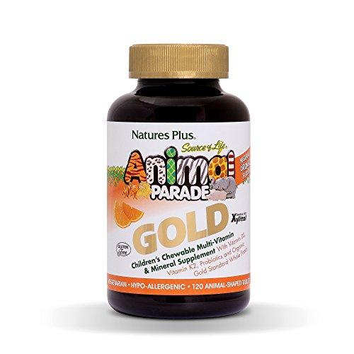 NaturesPlus Animal Parade Source of Life Gold Children's Multivitamin - Orange Flavor - 120 Chewable Animal Shaped Tablets - Immune Support Supplement - Organic, Gluten-Free - 60 Servings