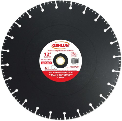 Oshlun SBRD-12 12-Inch Diamond Saw Blade with 1-Inch Arbor 20mm Bushing for Rescue and - Rescue 20 Blade Mm