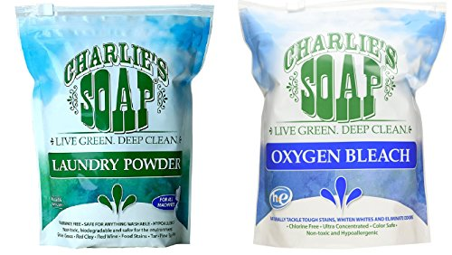 - Charlie's Soap Hypoallergenic 100 load Laundry Powder Bundle With Charlie's Oxygen Bleach
