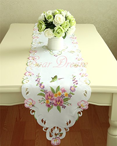 SoarDream 13x68 Inch Embroidered Table Runner Hollow Lace Fabric (Embroidered Table Runner compare prices)