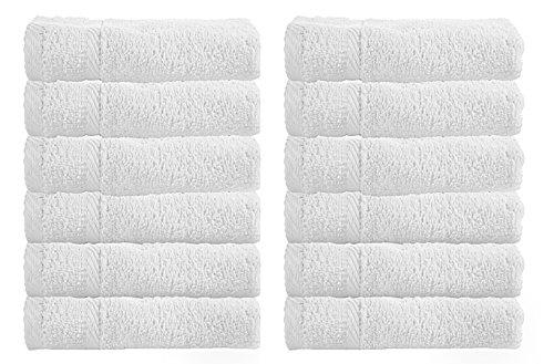 Luxury Hotel Washcloths, 100% Egyptian Cotton, White Washcloth Set of 12 (White Face)