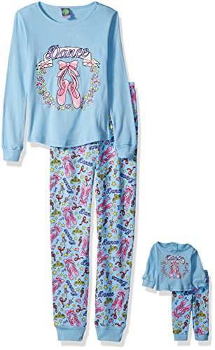 Dollie & Me Girls' Big Snugfit Cotton Sleep Set, Blue, 4